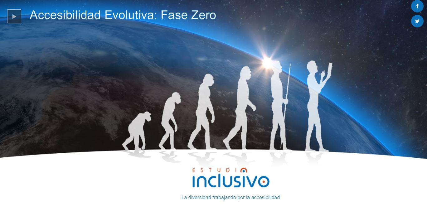 Imagen de Accesibilidad Evolutiva, con siluetas de evolución del simio al hombre con tablet, con un amanecer de la tierra detrás