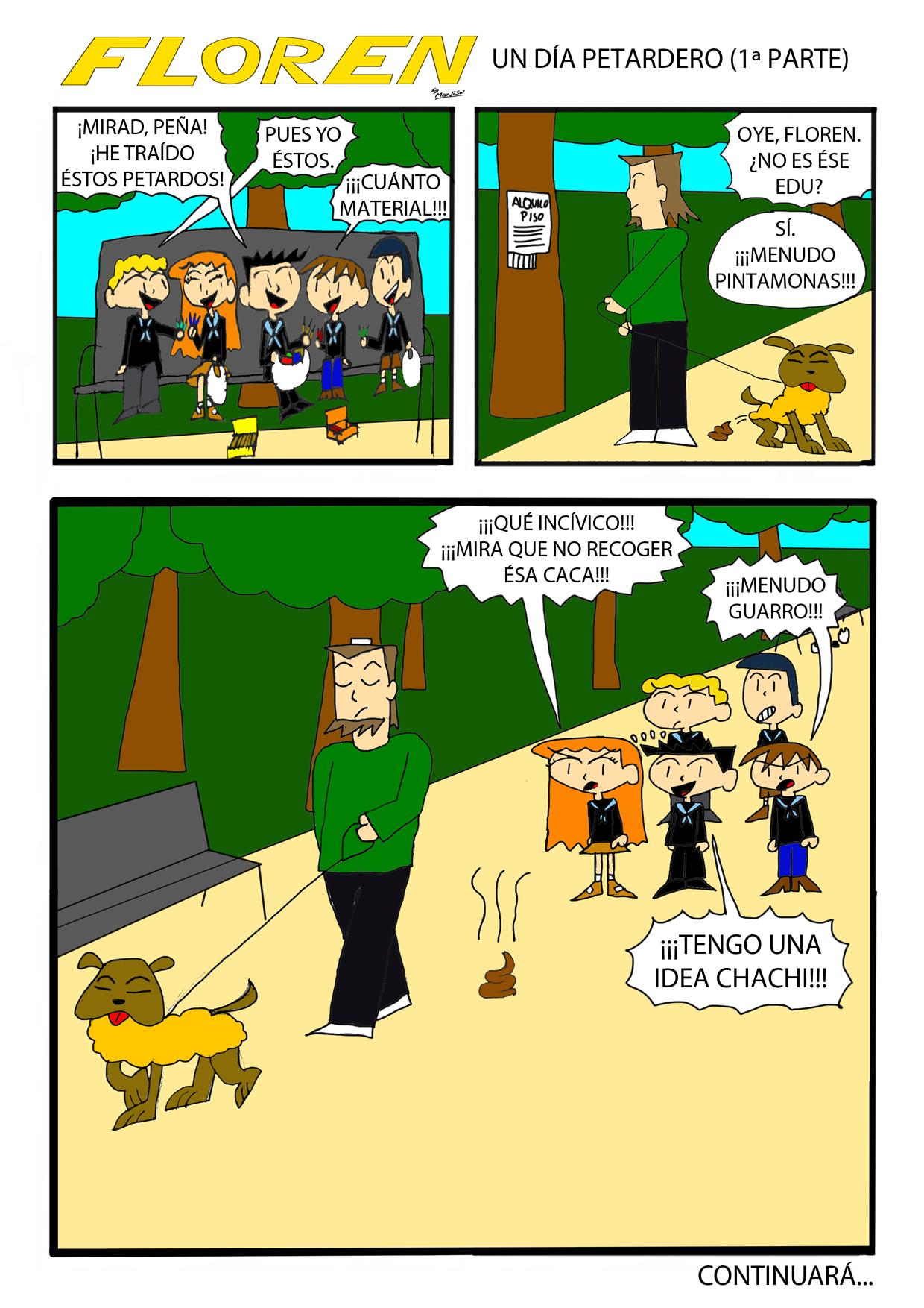 """Primera página de la historieta de Floren """"Un día petardero"""", de su segunda temporada, realizada entre 2012 y 2013."""